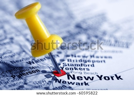Thumbtack in a  Map with a Selective Focus with a Selective Focus