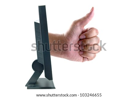 Thump up through computer monitor