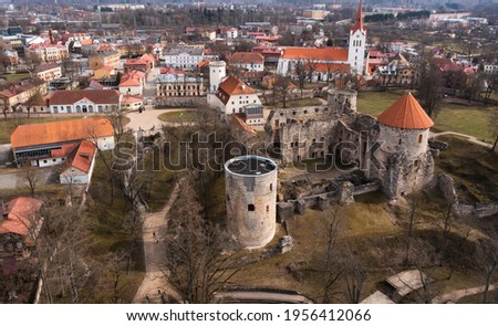 Thun Castle in Cesis from above - amazing drone footage Photo stock ©