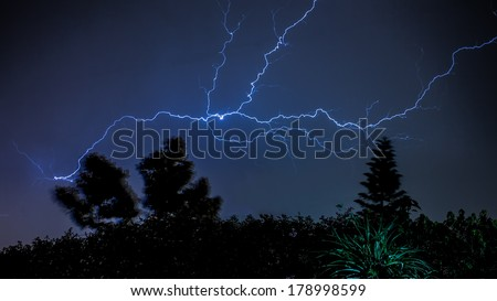 Thunder and Lightening strike on a dark cloudy evening in Addis Ababa, Ethiopia