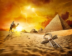 Thunder and lightning in the desert of Egypt