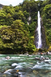 Thunder creek fall in tropical forest of New Zealand