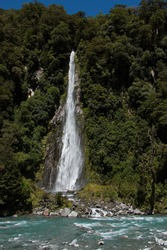 Thunder Creek Falls at Haast River in West Coast on South Island of New Zealand