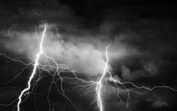 Thunder, lightnings and rain on stormy summer night.