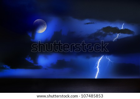 thunder/night act/thunder storm above the sea