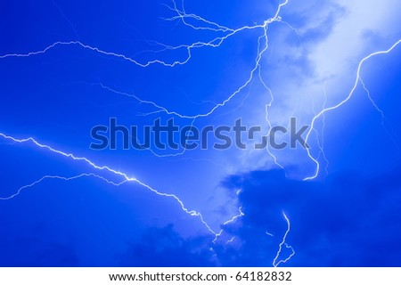 Thunder storm and power Lightning over sky .