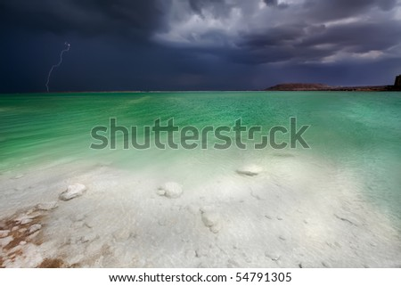 Thunder-storm on the Dead Sea, Israel