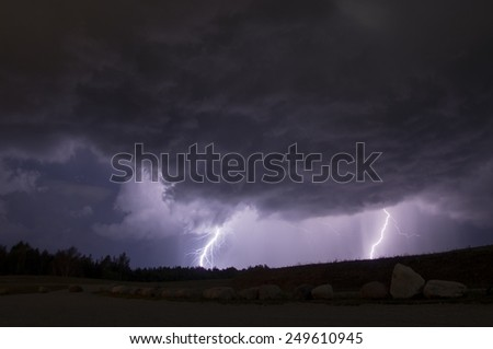 Thunder storm with two thunder bolts.