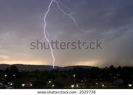 Thunderbolt of lightning at night during a thunderstorm,