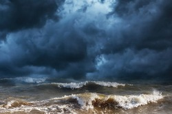 Thunderclouds and storm at sea. Nature background