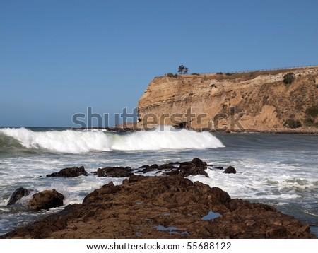 Thunderous surf crashes into the California Coast at Rancho Palos Verdes.