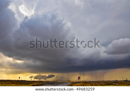 Thunderstorm at the sunset