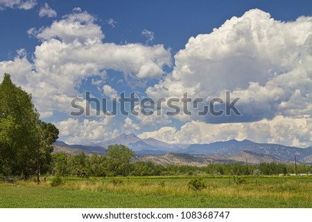 Thunderstorm Clouds building up and boiling over the Colorado Rocky Mountains Longs Peak.