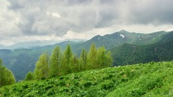 Thunderstorm clouds in the mountains, a moment before the rain. Natural Park Bolshoi Thach. Adygea, Russia