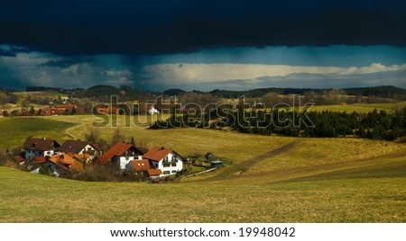 Thunderstorm coming over bavarian village near Munich, Germany