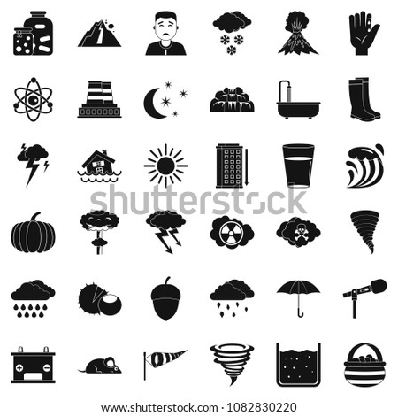 Thunderstorm icons set. Simple style of 36 thunderstorm icons for web isolated on white background