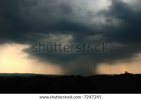 Thunderstorm in a Tuscany landscape