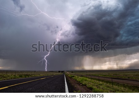 Thunderstorm lightning strike