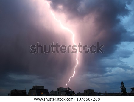 Thunderstorm lights. Bright lightning thunderstorms sparkle from the cloud. Dangerous electrical flash. Levin or scintillation for weather concept. Storm weather with heavy rain. Lightning bolt strike