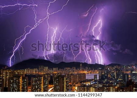 Thunderstorm night in Hong Kong, bad weather, wide angle