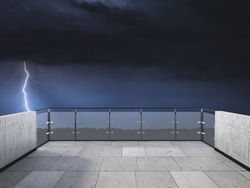 Thunderstorm on the balcony. Balcony view of  sky with thunder. Landscape. Night. Terrace with a beautiful view of storm. Background with beautiful landscape. Storm in the night.
