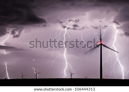 Thunderstorm over a wind farm