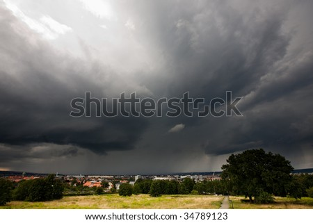 thunderstorm over the City of Dresden
