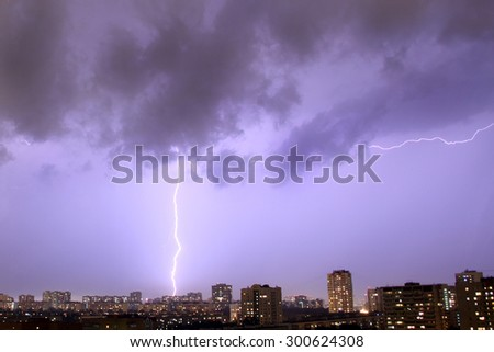 Thunderstorm over the town
