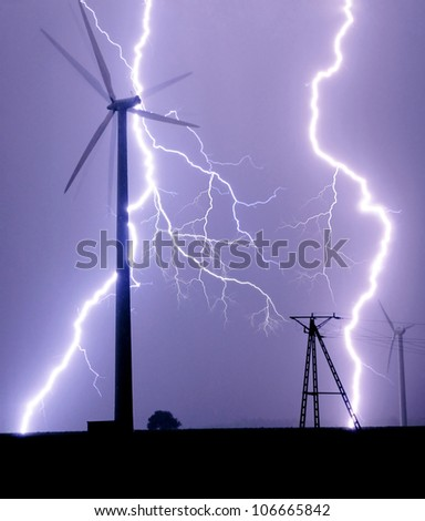 Thunderstorm over wind turbines farm. Poland.