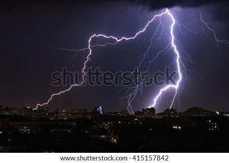Thunderstorm with huge lightning over night city. Belarus, Minsk. May 2016