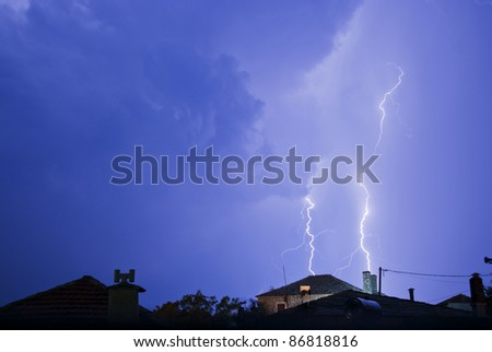 Thunderstorm with lightening at night.