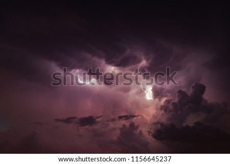 Thunderstorm with lightning and rain at night