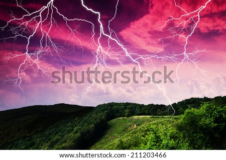 Thunderstorm with lightning in mountain