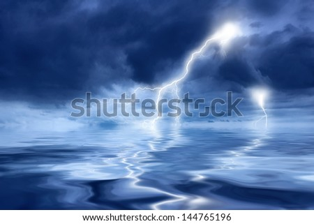 Thunderstorm with lightning in the sea at night