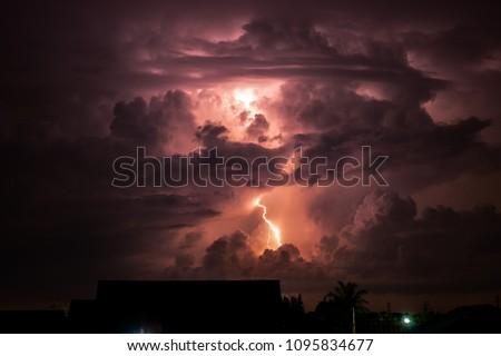 Thunderstorms formidable,lightning night,