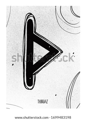 Thurisaz runa line art. Set posters runa ink. Illustration symbol scandinavian rune