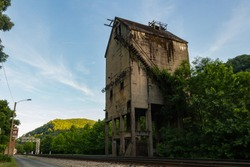 Thurmond West Virginia Coal Tower overgrown and delapitated.