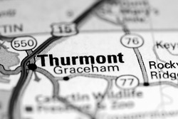 Thurmont. Maryland. USA on a map