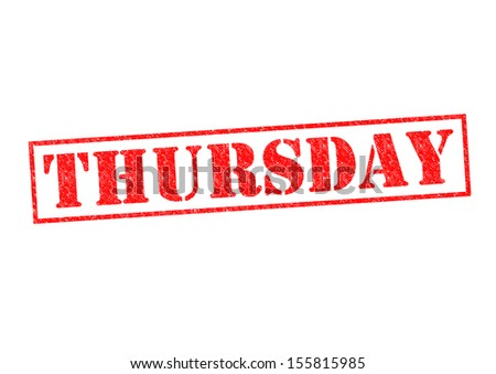 THURSDAY Rubber Stamp over a white background.