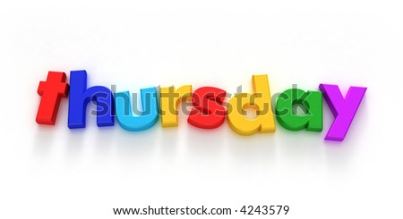 Thursday word formed with colorful letter magnets on neutral background
