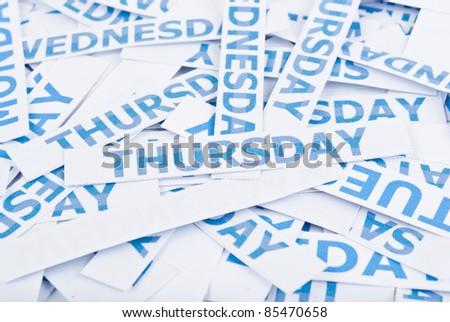 Thursday word texture background  - stock photoThursday Word