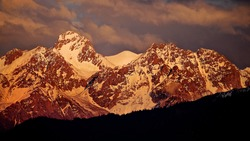 Tian Shan mountains, meaning the Mountains of Heaven or the Heavenly Mountain Nursultan Peak (Komsomol)