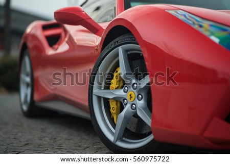 Tianjin, China - Feb 27, 2016: Ferrari 488 GTB. The Ferrari 488 is an Italian sports car produced since 2015, powered by a 3.9-litre twin-turbocharged V8.