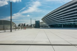 Tianjin, China, modern city business office area, building part and Plaza platform.