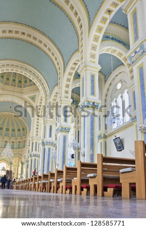 TIANJIN-CHINA-OCT. 13. Catholic Church inside. Since People's Republic of China (1949) Catholicism is permitted under supervision of State Administration for Religious Affairs. Tianjin, Oct. 13, 2008. - stock photo