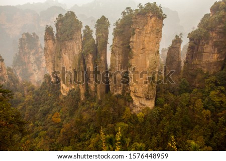Tianzi Mountain provides stunning views of peaks, which rise one after another. It is known as 'the Monarch of the Peak Forest'.The pillars of Tianzi Mountain took on a different shape