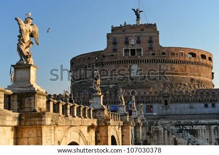 Tiber river at Castel Sant'Angelo, Rome #107030378