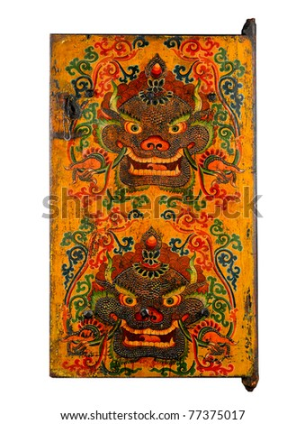 Tibet ancient door painting the story about religion, the image isolated on white background - stock photo