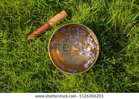 Tibetan bowl with flowers on the green grass  Stok fotoğraf ©