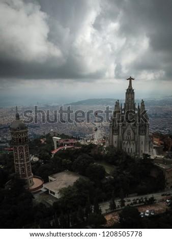 Tibidabo church Barcelona Drone  #1208505778